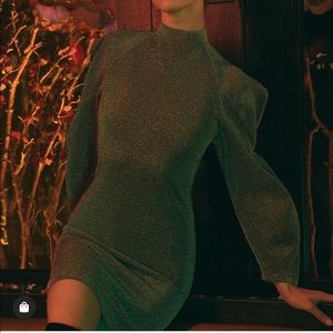 BCBGMAXAZRIA Metallic Bubble Sleeve Dress